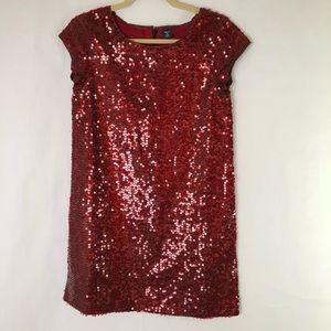 Gap Kids red sequin short sleeve dress XL 14-16